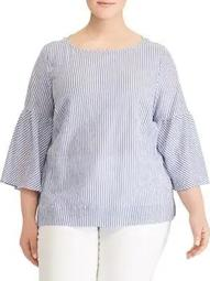 Plus Striped Stretch Bell-Sleeve Top
