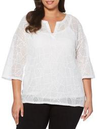 Plus Patchwork Lace Top