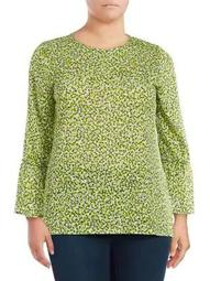 Plus Collage Floral Bell-Sleeve Top