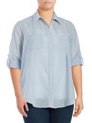 Plus Cotton Button-Down Shirt