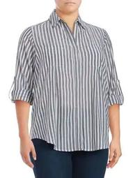 Plus Roll-Tab Stripe Blouse