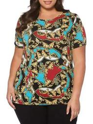 Plus Printed Short Sleeve Top