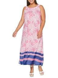 Plus Random Palms Maxi Dress
