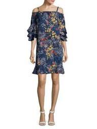Plus Off-the-Shoulder Floral Ruffle Dress