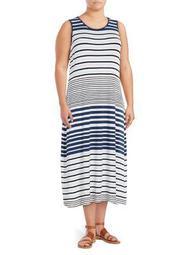 Plus Poolside Striped Midi Dress