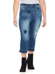 Plus Star Patch Capri Jeans