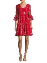 Plus Floral Ruffled Bell-Sleeve Dress