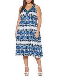 Plus Circle Tie-Dye Midi Dress