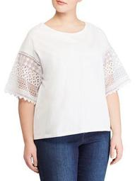 Plus Lace Bell-Sleeve Top
