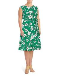 Plus Floral-Print Fit-and-Flare Dress