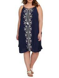 Plus Embroidered Swing Dress