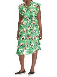 Plus Floral Ruffle Midi Dress