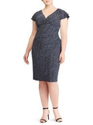 Plus Jersey Flutter-Sleeve Dress