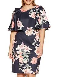 Plus Floral-Print Cape Sheath Dress