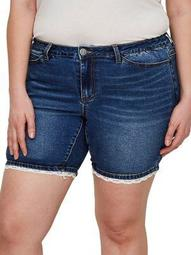 Plus Crochet Trim Denim Shorts