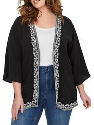 Plus Quarter-Sleeve Embroidered Kimono