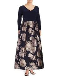 Plus Long-Sleeve Brocade Gown