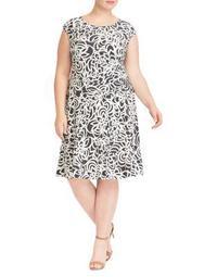 Plus Floral Cap-Sleeve Fit-&-Flare Dress