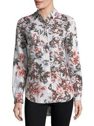 Plus Tiffany Floral Linen Button-Down Shirt