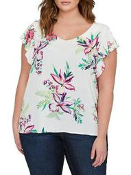 Plus Floral Mixed-Media Ruffle Short-Sleeve Top