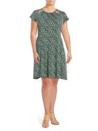 Plus Tiny Wildflower Cap-Sleeve Dress
