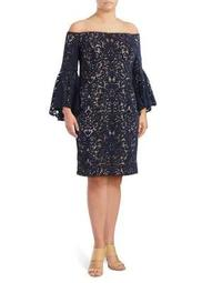 Plus Lace Bell-Sleeve Dress