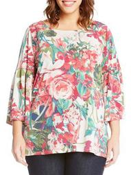 Plus Bell-Sleeve Floral Knit Top