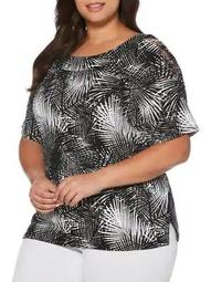 Plus Two-Tone Palms Blouse