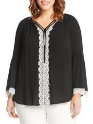 Plus Lace-Trimmed Bell-Sleeve Top