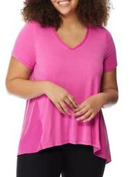 Plus Knit To Woven V-Neck Tee