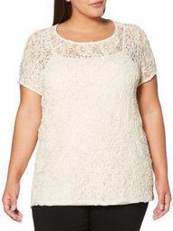 Plus Lace Short Sleeve Shirt
