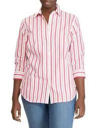 Plus Striped Stretch-Cotton Button-Down Shirt