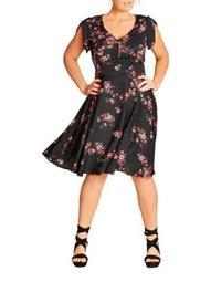 Plus Delicate Flower Printed Dress