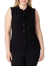 Plus Plus Sleeveless Ruffle Front Blouse