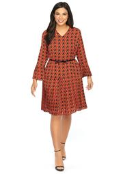 Plus Size Printed Bell Sleeve Pleated Dress