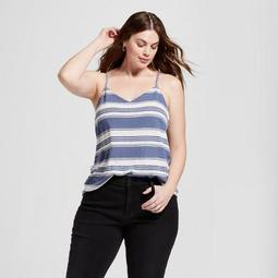 Women's Plus Size Cross Back Stripe Tank Top - Universal Thread™ Blue Stripe