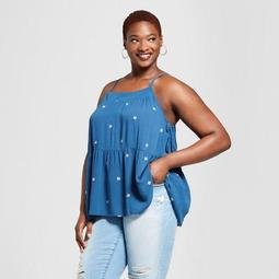 Women's Plus Size Floral Printed Strappy Tank Top - Universal Thread™ Blue