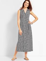 Sleeveless Cheetah-Print Shirtdress