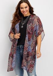 plus size paisley print kimono