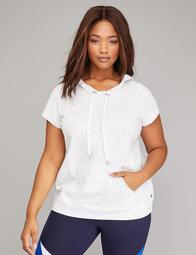 Short-Sleeve Active Hoodie with Mesh