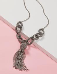 Seedbead Link Tassel Lariat Necklace