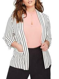Plus Striped Three-Quarter Sleeve Blazer