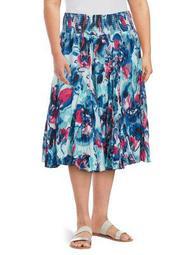 Plus Printed Cotton Skirt