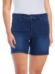 Plus Mid-Thigh Denim Shorts