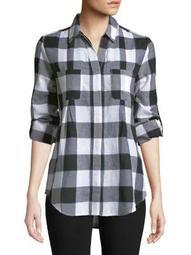 Plus Nancy Plaid Cotton Shirt