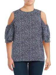 Plus Paisley Fleur Cold-Shoulder Top