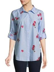 Plus Floral Embroidered Cotton Button-Down Shirt