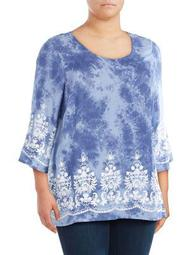 Plus Embroidered Tie Dye Top