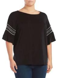 Plus Embroidered Smocked Drop-Shoulder Top