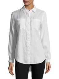 Plus Dotted Linen Button-Down Shirt